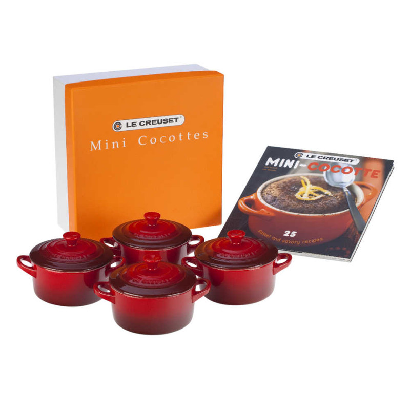 Le Creuset Mini Cocottes in Cerise With Cookbook