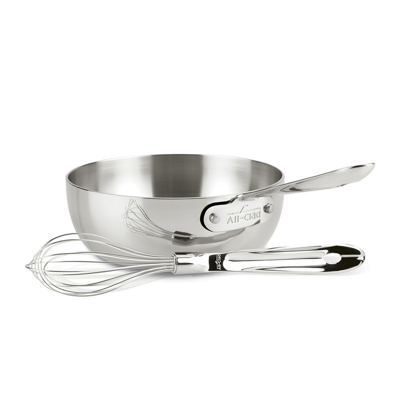 All-Clad D3 Stainless Steel Saucier With Whisk