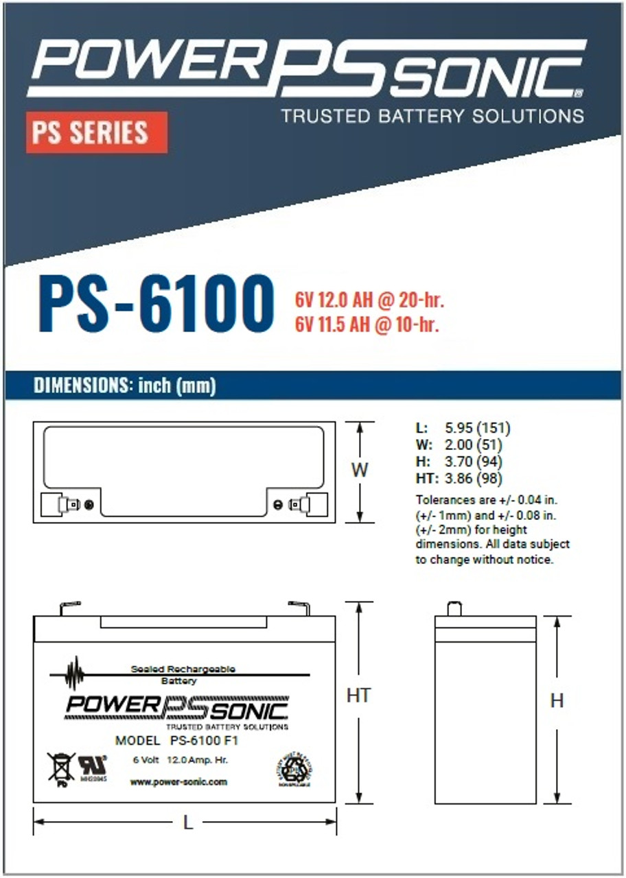 Power Sonic - PS-6100F1 - Dimensions