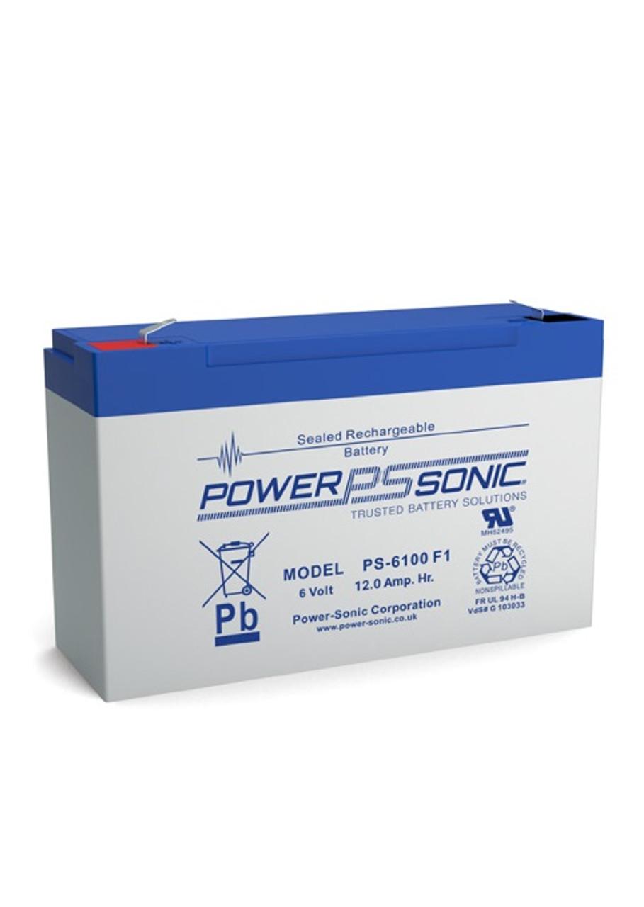 Power Sonic - PS-6100F1 - 6 Volt, 12.0 AH Rechargeable SLA Battery