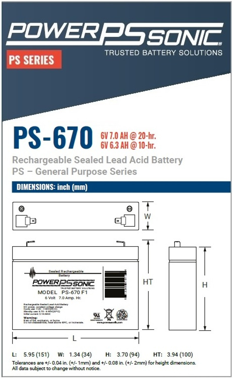 PowerSonic PS-670F1 Dimensions
