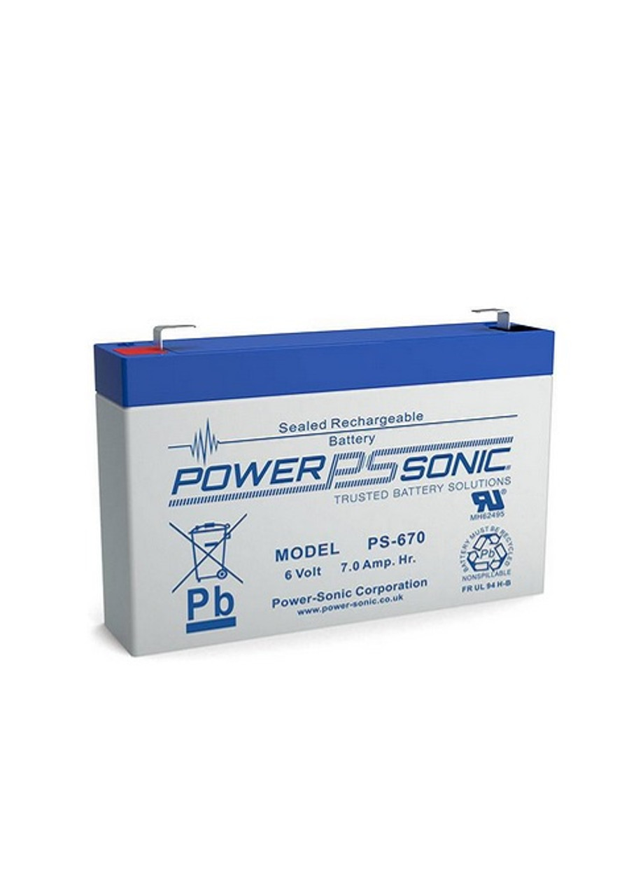 PowerSonic PS-670F1 6 Volt 7.0 AH Battery