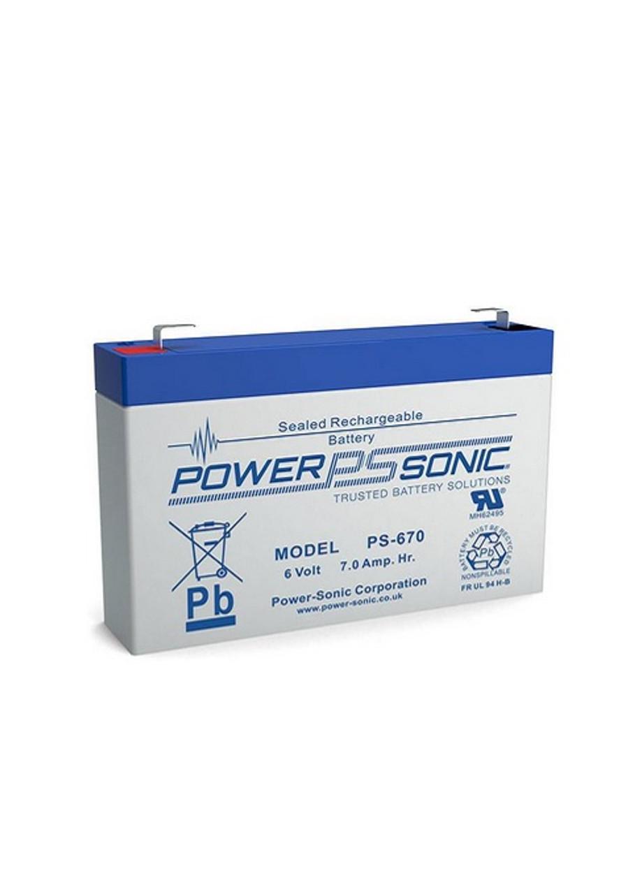 PowerSonic PS-670F1 6 Volt 7.0 AH Battery