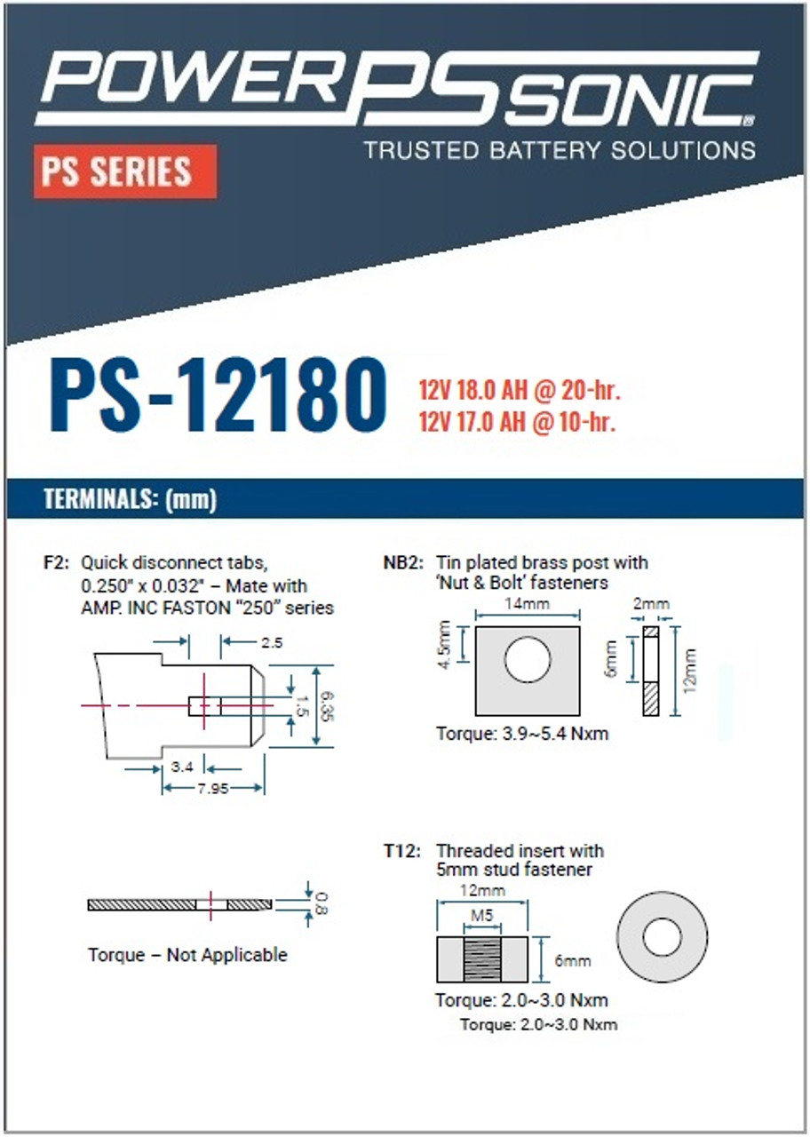 Power Sonic - PS-12180NB - Terminals