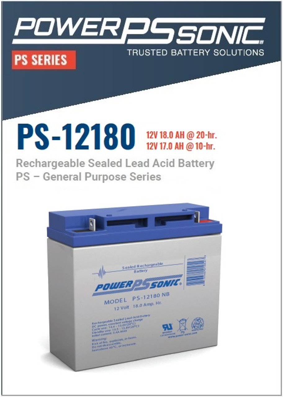 Power Sonic PS-12180NB - 12 Volt, 18 AH Rechargeable SLA Battery