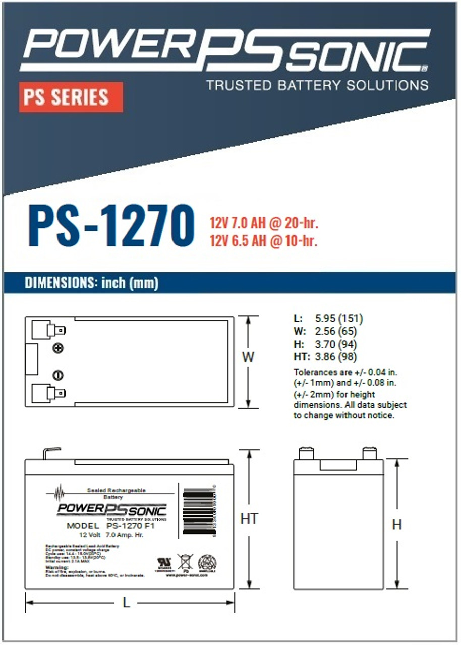 Power Sonic - PS-1270 Battery, Dimensions