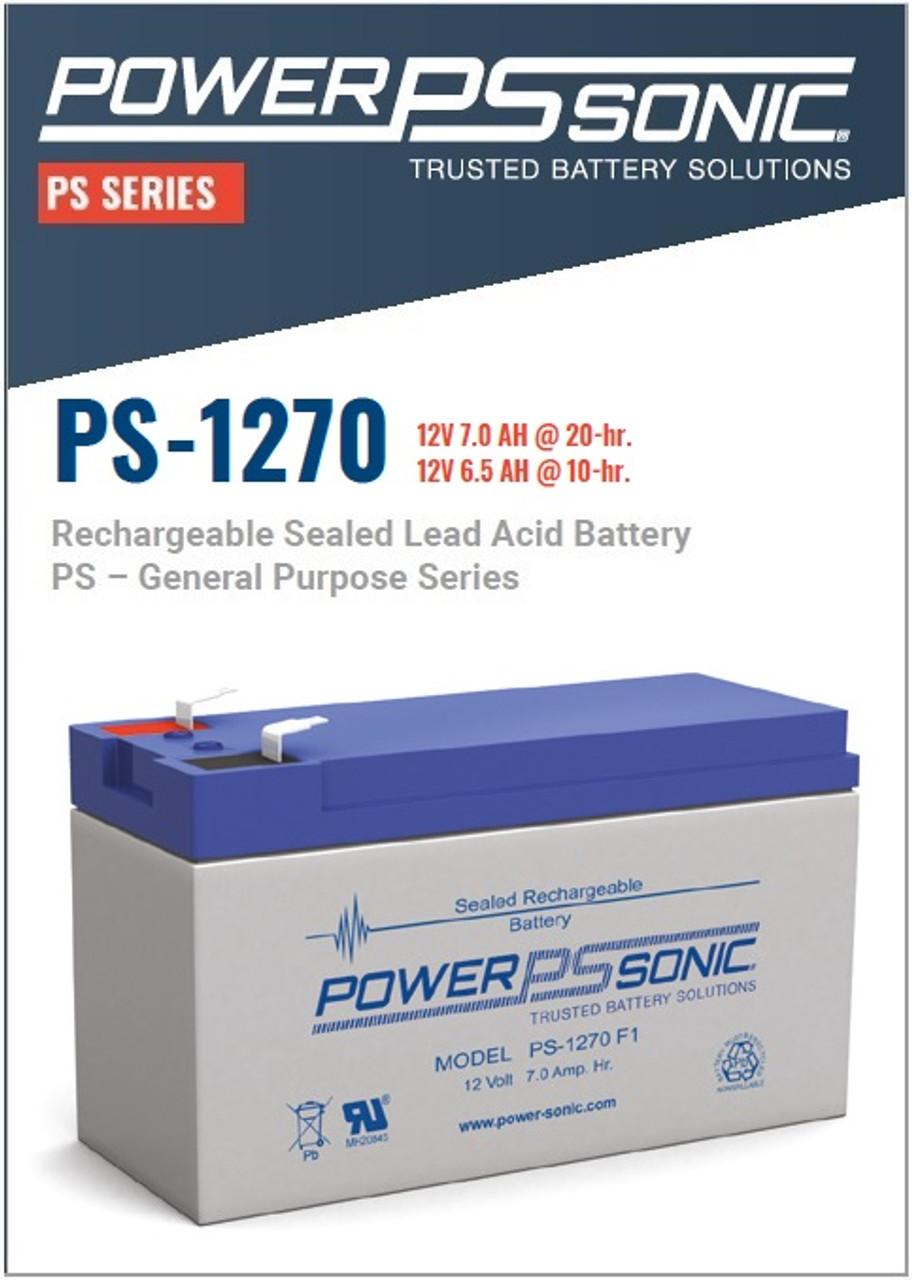 Power Sonic - PS-1270 12 Volt,  AH Rechargeable SLA Battery