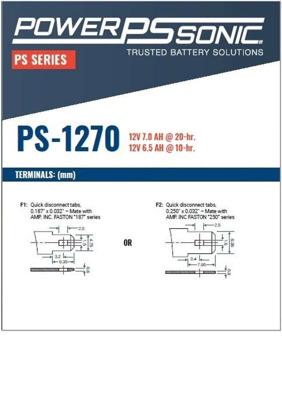 Power Sonic - PS-1270 Battery, Terminals