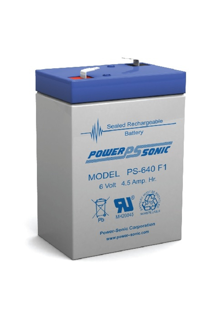 Power Sonic - PS- 640F1,  6 Volt,  4.5 AH Rechargeable SLA Battery