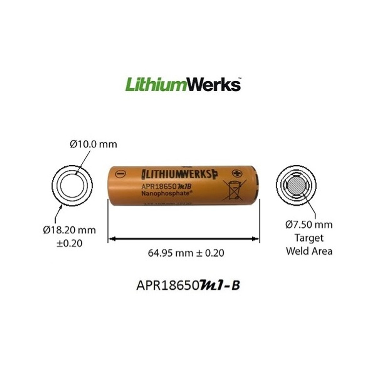APR18650M1-B, Li-Ion NanoPhosphate® Technology - Dimensions