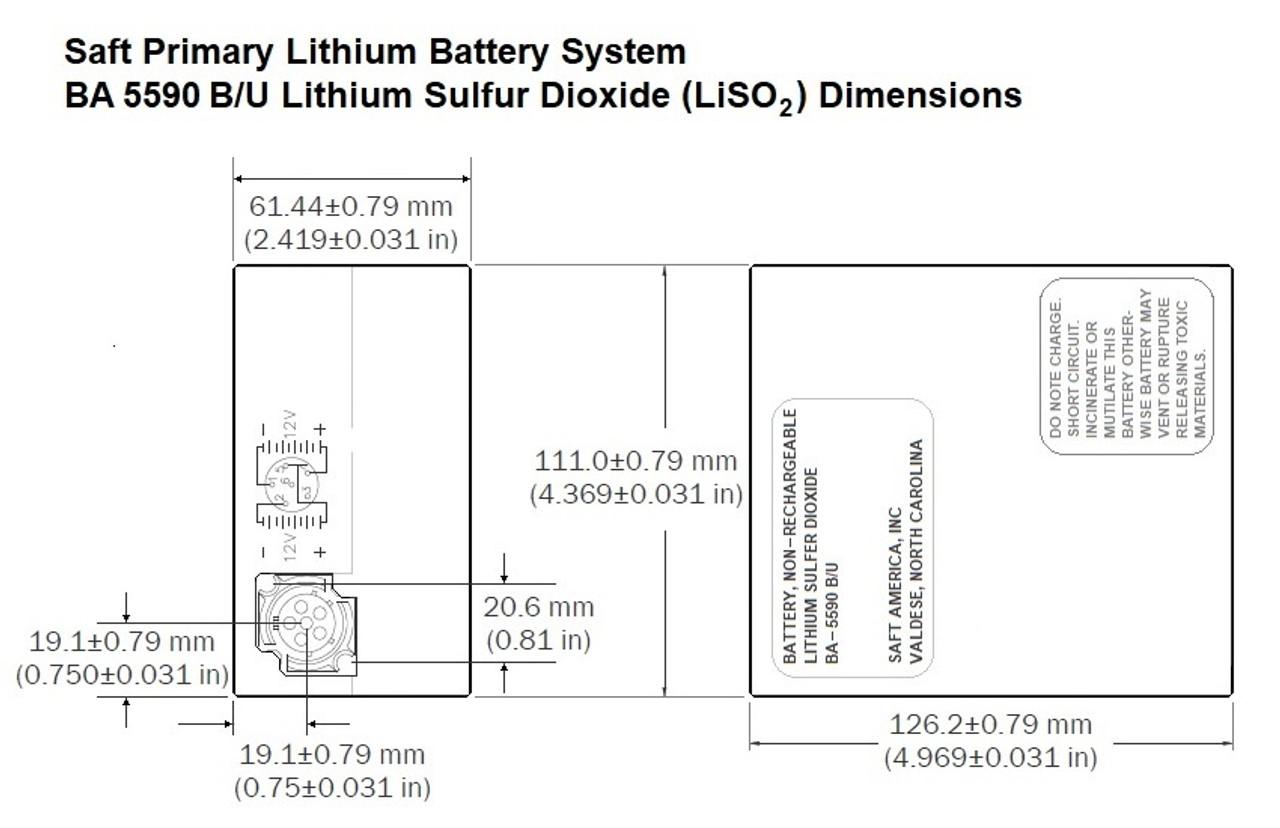 Saft BA-5590 B/U Dimensions
