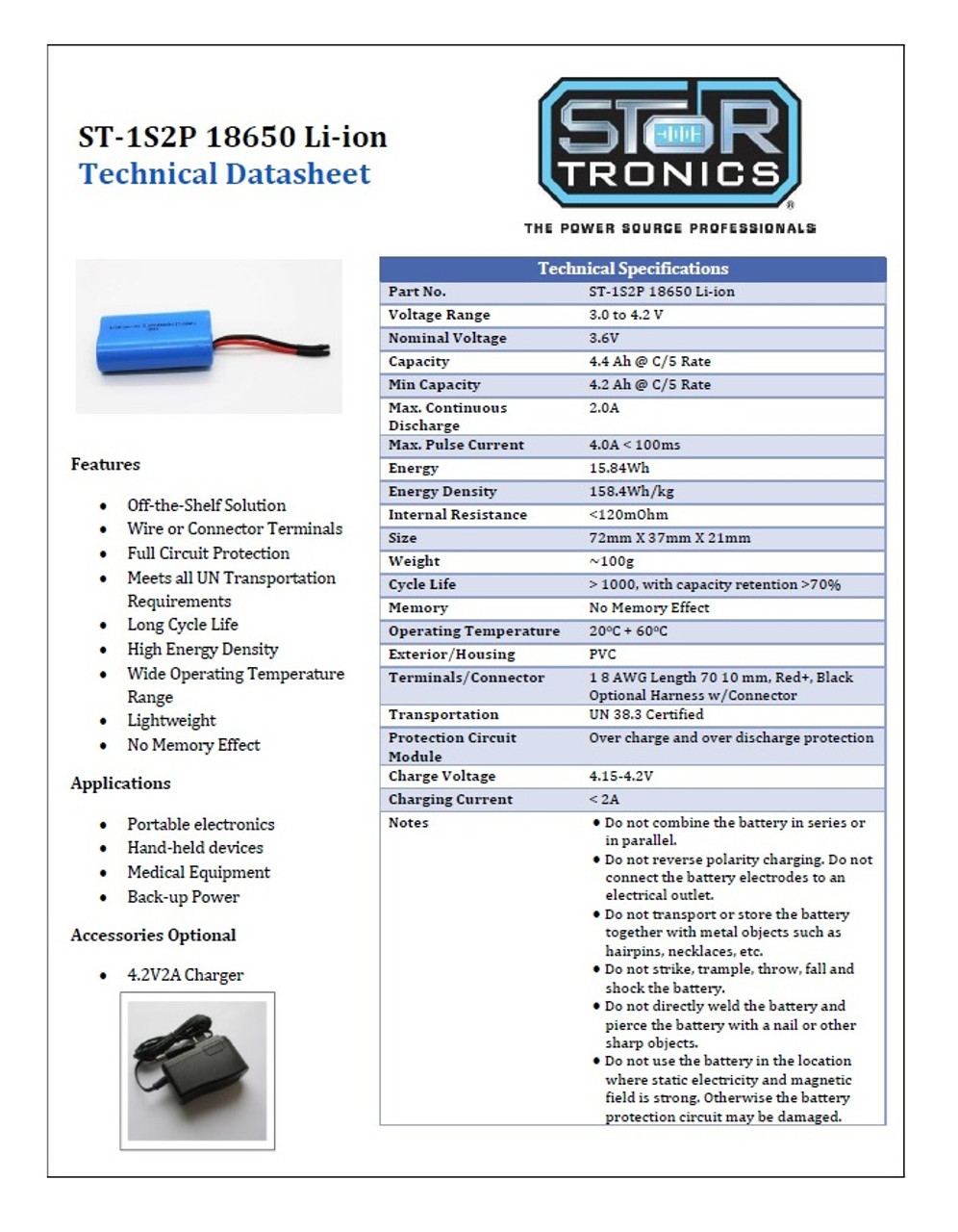 StorTronics ST-1S2P, 18650 Li-ion Battery Pack Specification Sheet