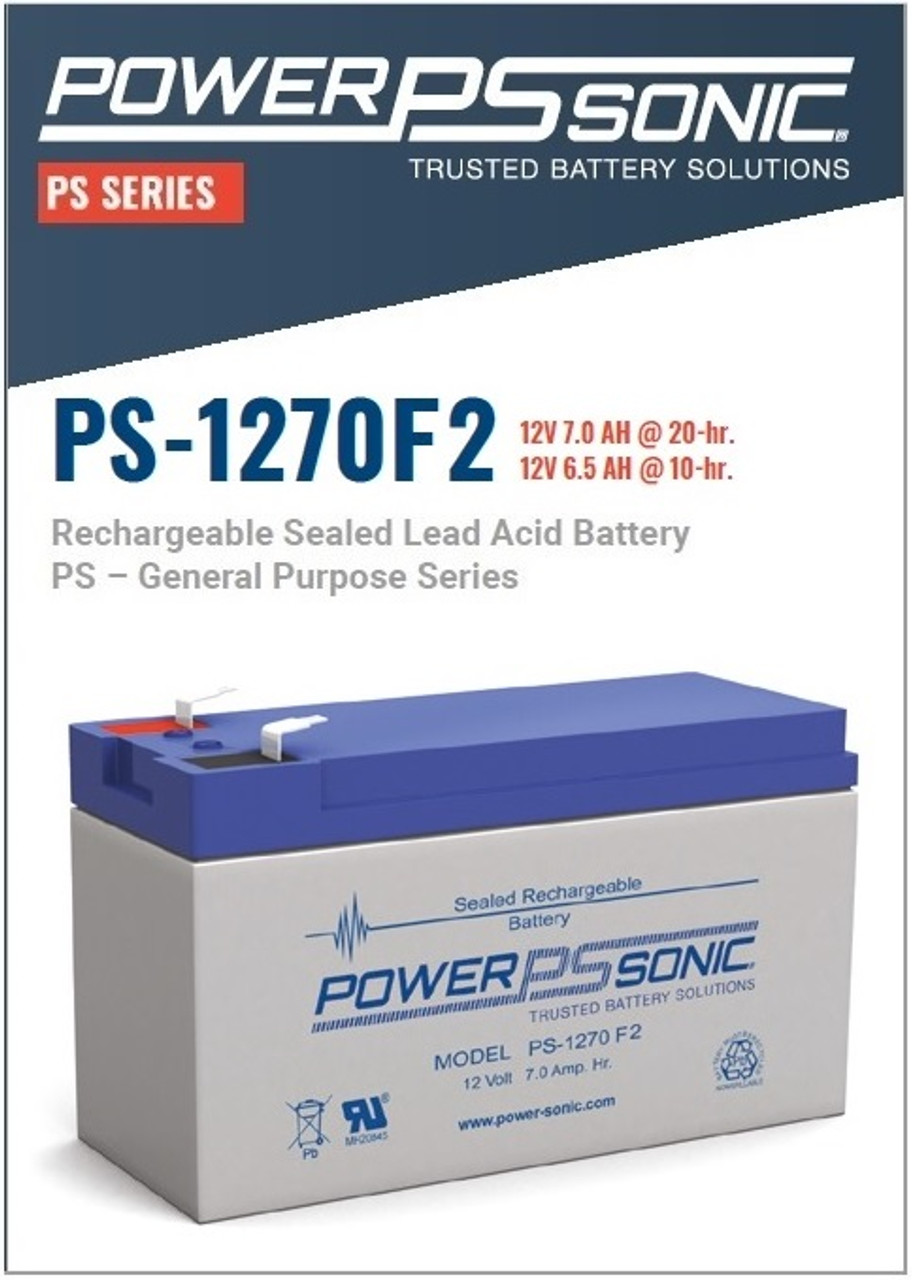 Power Sonic - PS-1270F2, 12 Volt,  AH Rechargeable SLA Battery