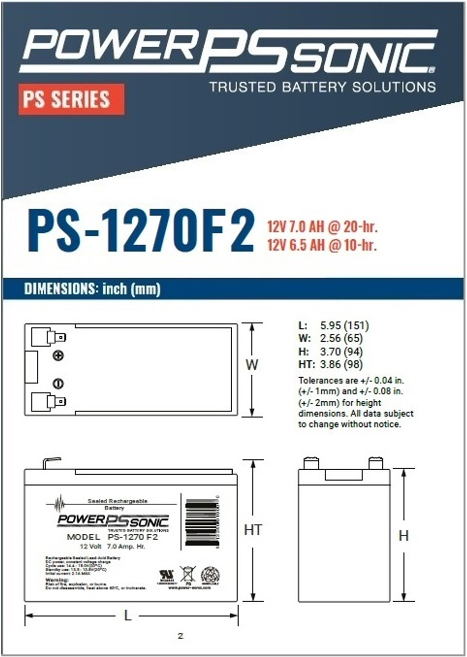 Power Sonic - PS-1270F2 Battery, Dimensions