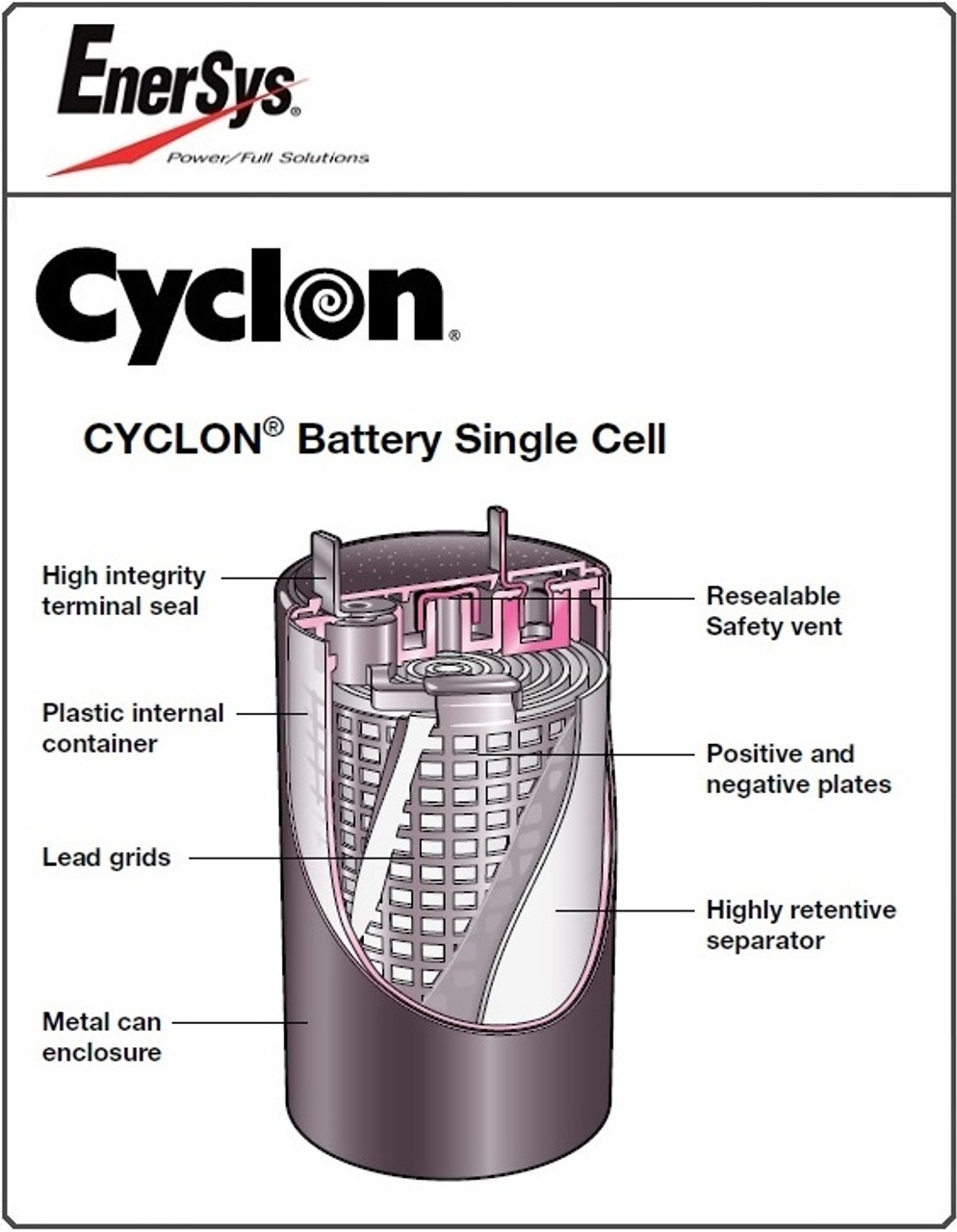 Enersys Cyclon, 0810-0004, Single D Cell