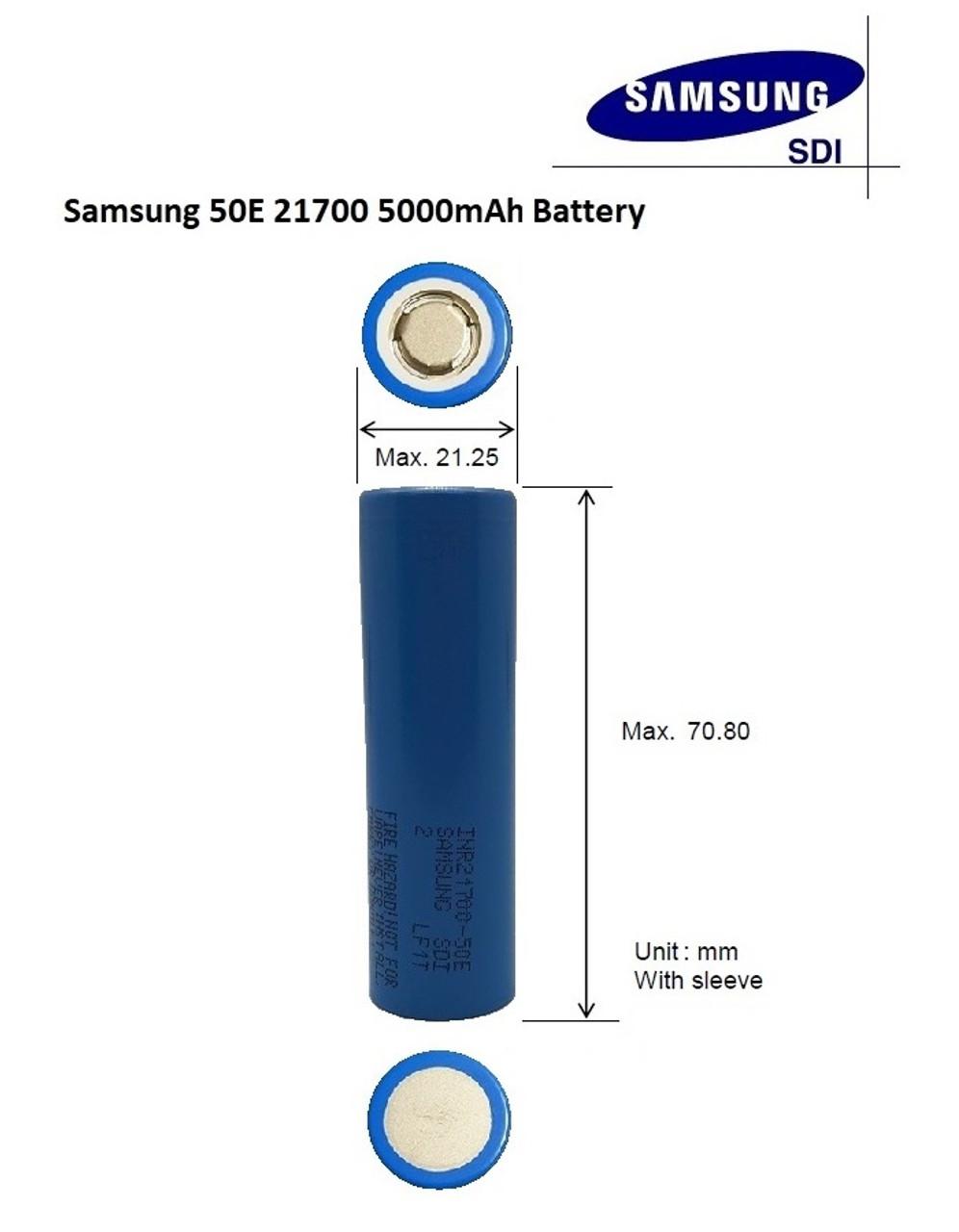 Samsung SDI INR21700-50E Dimensions