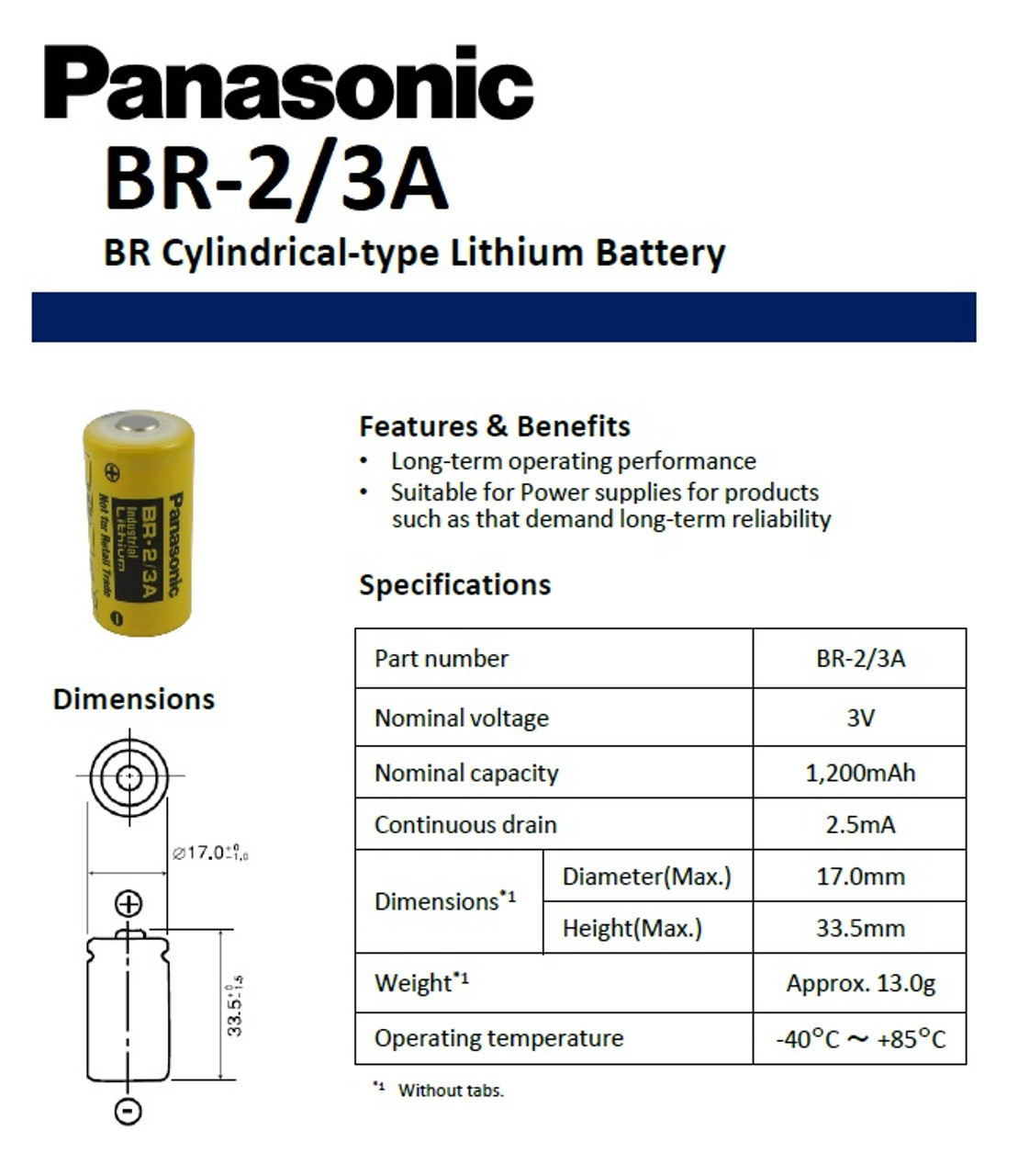 Panasonic BR-2/3A Lithium Battery Specifications