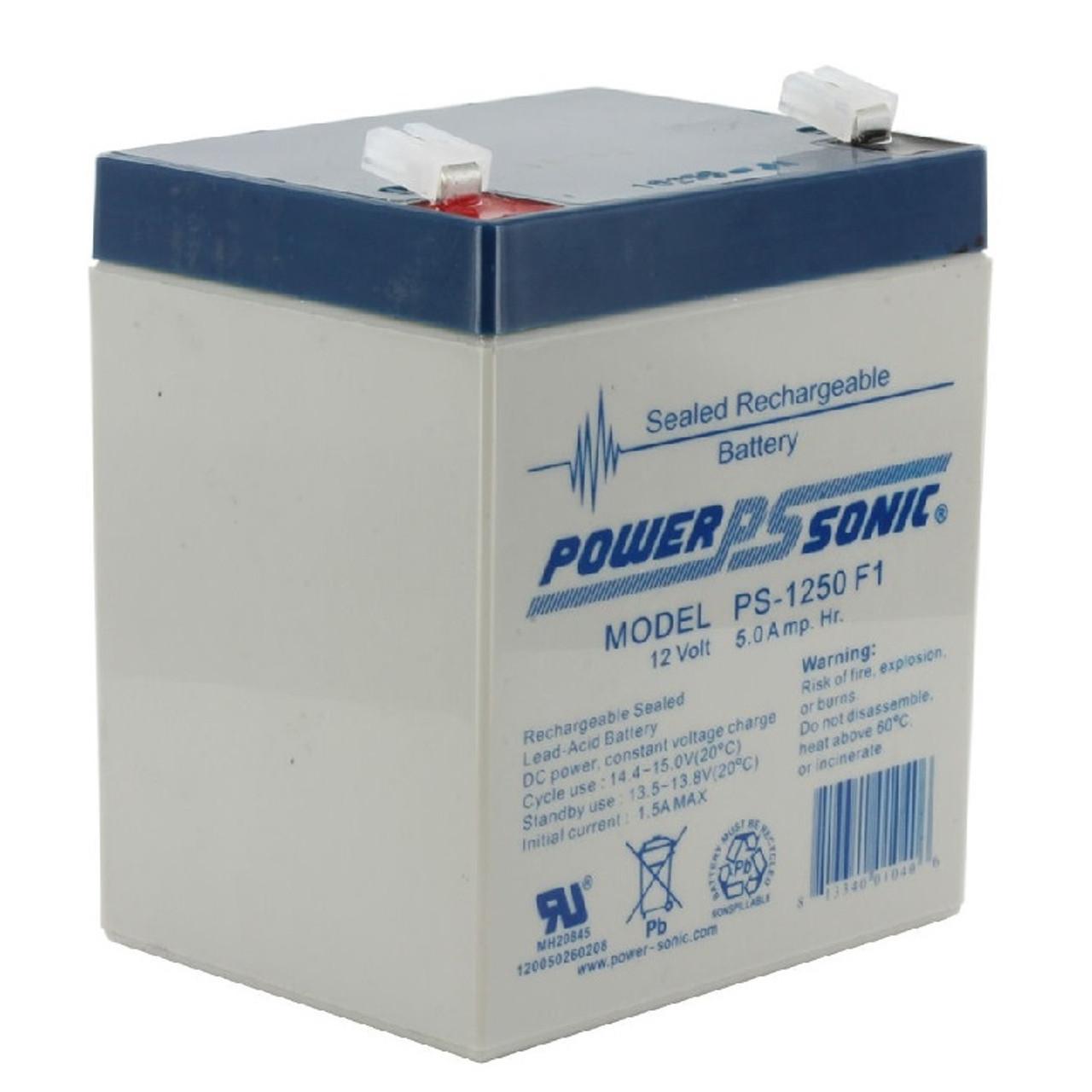 Power Sonic PS-1250F1, 12 Volt, 5AH Rechargeable SLA Battery