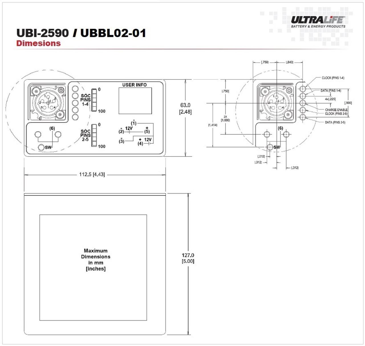 Ultralife UBBL02-01 / UBI-2950 - Dimensions
