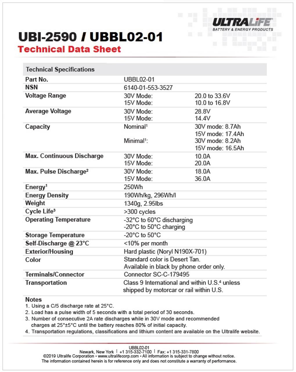 Ultralife UBBL02-01 / UBI-2590 - Technical Data