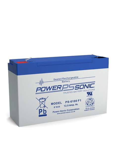 Power Sonic - PS-6100F1 - 6 Volt, 12.0 AH Rechargeable SLA Battery