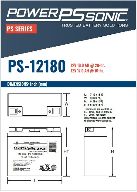 Power Sonic - PS-12180NB - Dimensions