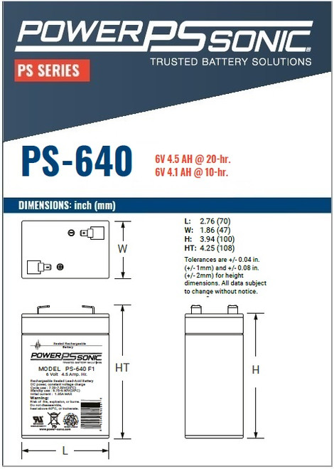 Power Sonic - PS- 640F1,  Dimensions