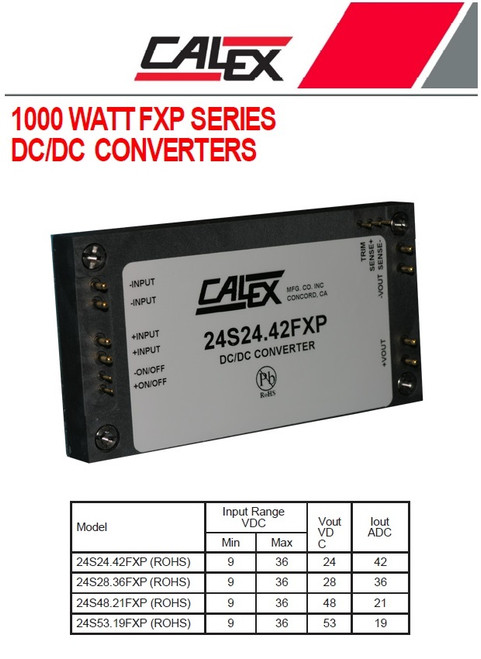 Calex 24S24.42FXP, 1000 Watt Single FXP Series DC/DC Converter