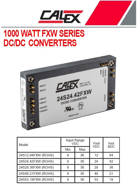 Calex 24S24.42FXW, 1000 Watt Single, Series DC/DC Converter