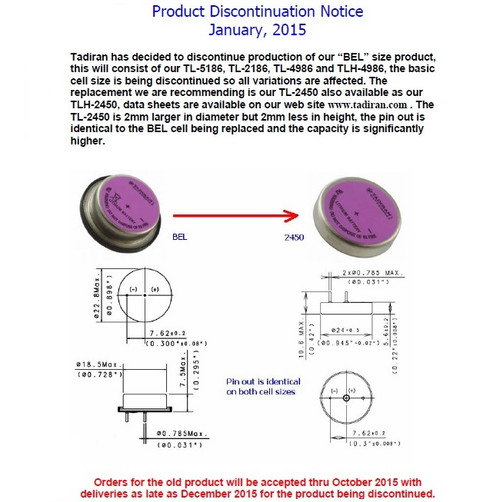 Tadiran TL-5186 - TL-2450 Notice