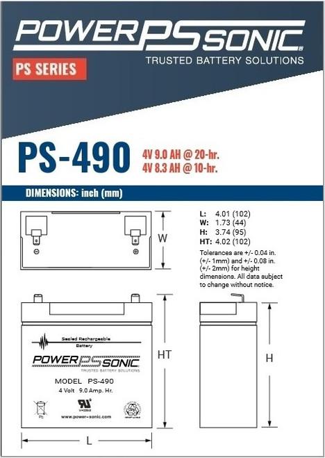 Power Sonic PS-490, 4 Volt, 9Ah Rechargeable SLA Battery