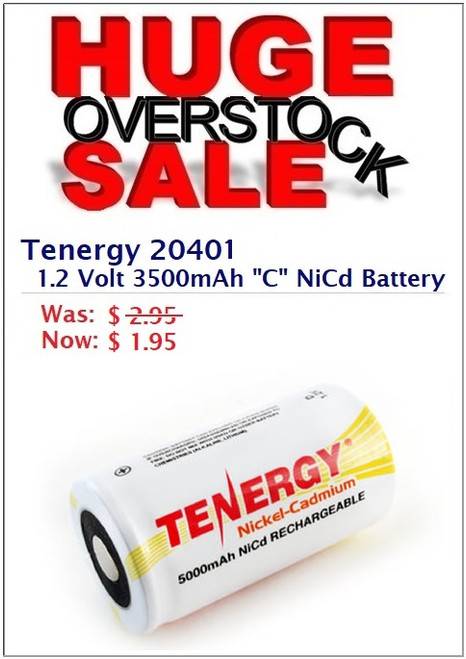 "OVERSTOCK SALE:  Tenergy 20401 1.2 Volt, 3500mAh ""C"" NiCd Flat Top Rechargeable Battery"