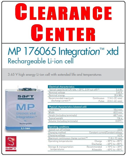 Saft MP 176065 XTD 3.75 Volt, 20Wh, Prismatic Rechargeable Lithium-Ion Cell