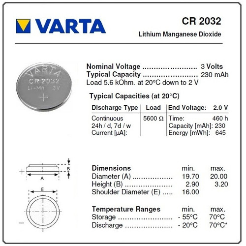 Varta CR2032, 3 Volt, 230 mAh Lithium Coin Cell