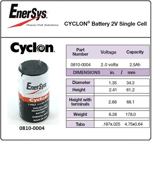 Enersys Cyclon, 0810-0004, 2 Volt, 2.5 Ah SLA D Battery