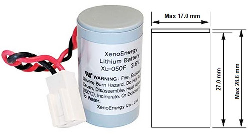 Xeno Energy XL-050F/Case - 3.6 Volt 1200mAh 1/2 AA Lithium Battery w/Case & Connector