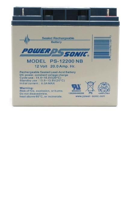 PowerSonic PS-12200NB, 12 Volt, 20Ah Rechargeable SLA Battery w/Nut & Bolt Terminals