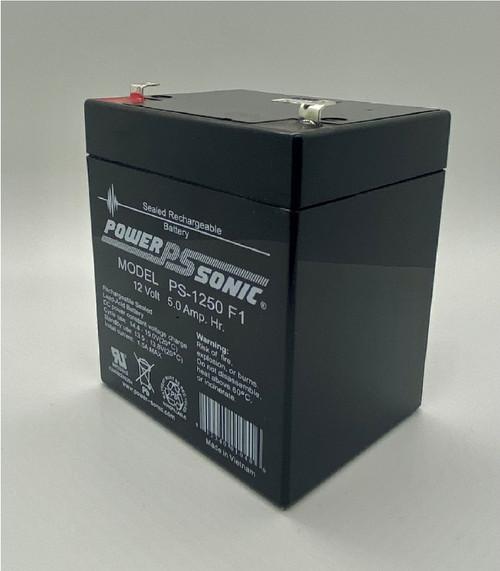 Power Sonic PS-1250F1, 12 Volt, 5AH Black SLA Battery