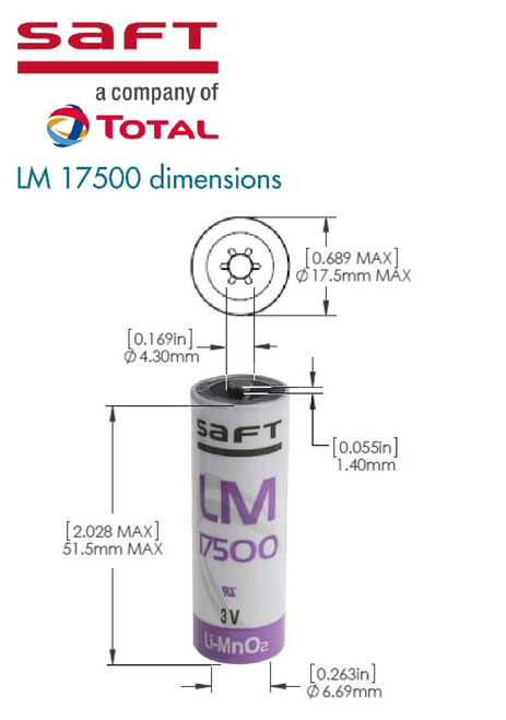 Saft LM17500 LI-MN02 CELL - Dimensions