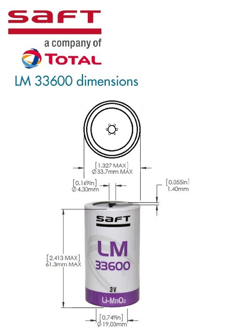 Saft LM 33600 Dimensions