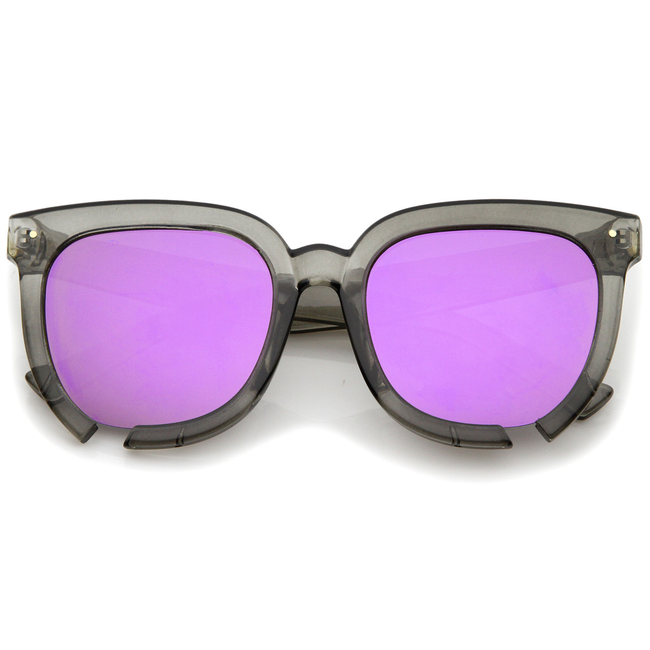 6e7fbfc48 Oversize Notch Detail Square Colored Mirror Flat Lens Horn Rimmed Sunglasses  54mm