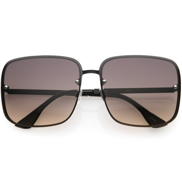Luxe Rimless Gradient Lens Square Oversize Sunglasses 65mm