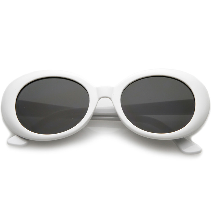 Retro Oval Sunglasses Tapered Arms Neutral Colored Round Lens 53mm