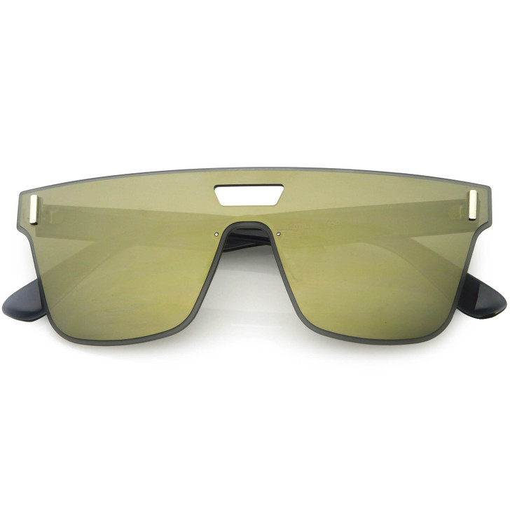 Sporty Modern Rimless Square Flat Top Mirrored Lens Shield Sunglasses 55mm