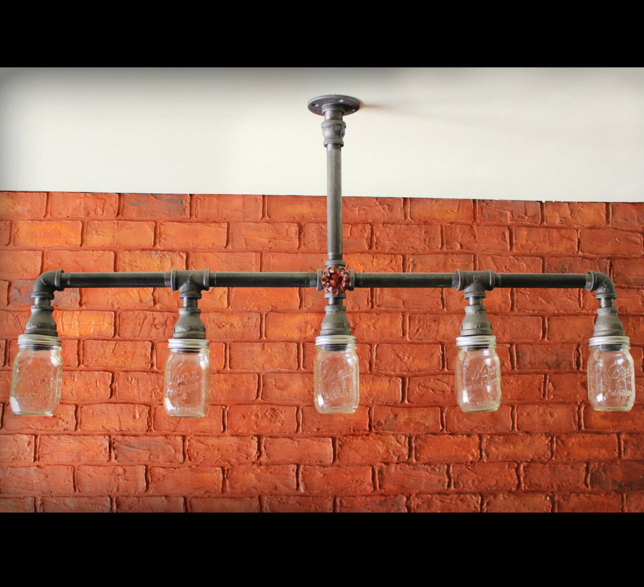 Black Pipe Mason Jar Chandelier Ceiling Light Industrial Black Pipe Stainless Steel Cages Industrial Lighting Decor With Knobs Haddock Industrial