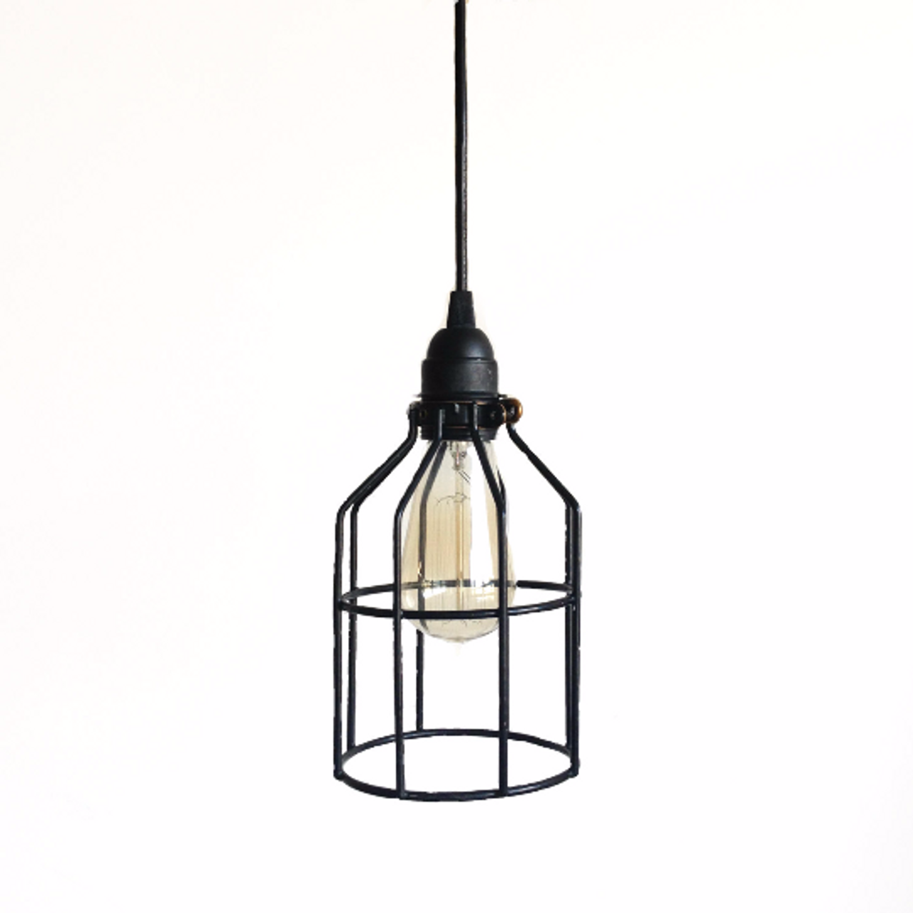Image of: Black Cage Pendant Industrial Lighting Hanging Pendent Lights For Over Kitchen Island Or Bar Haddock Industrial