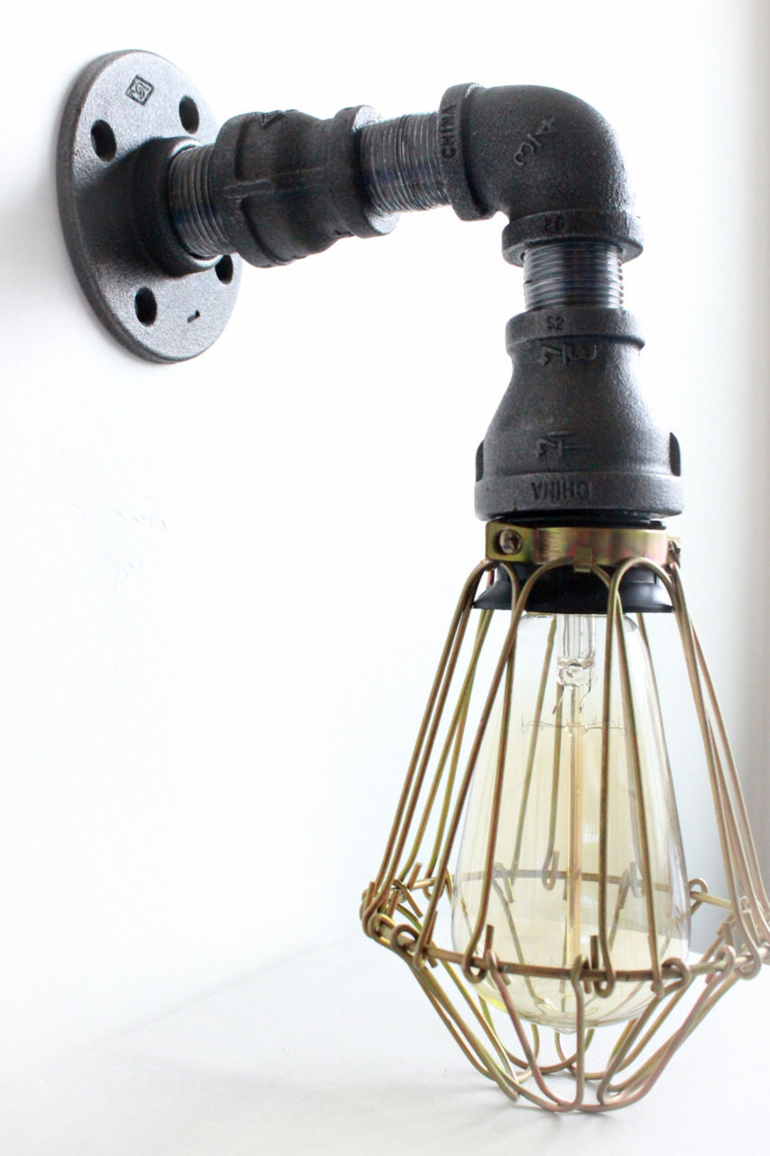 Industrial lighting wall sconce w brass cages steampunk bathroom vanity light bronze light