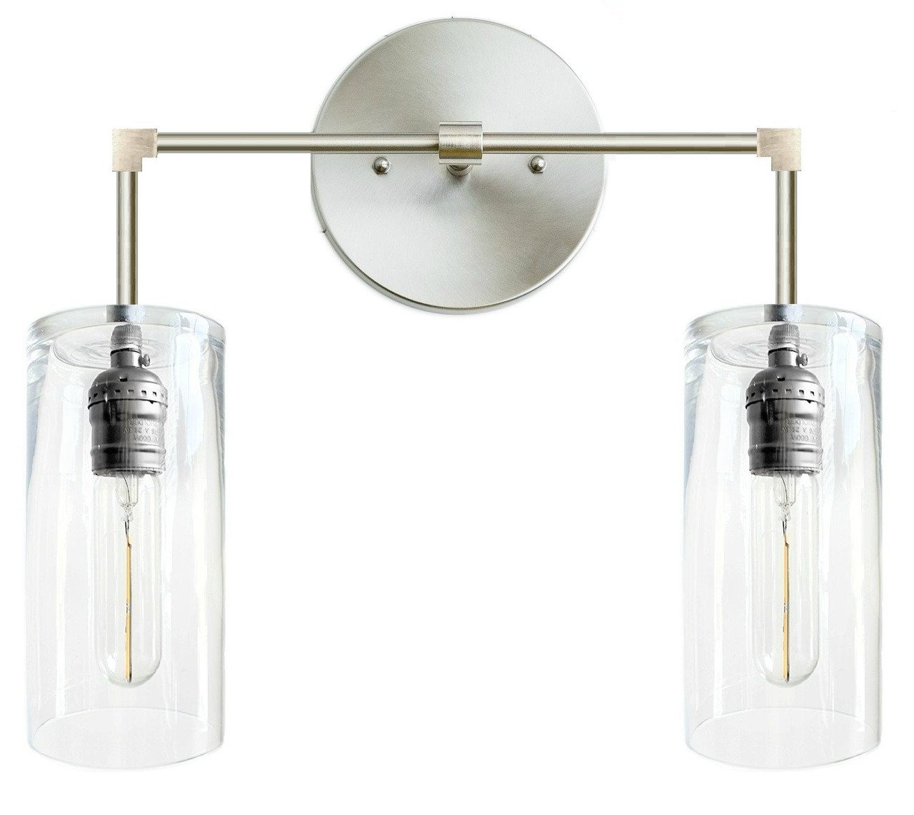 Light fixture for bathroom with glass lamp shades