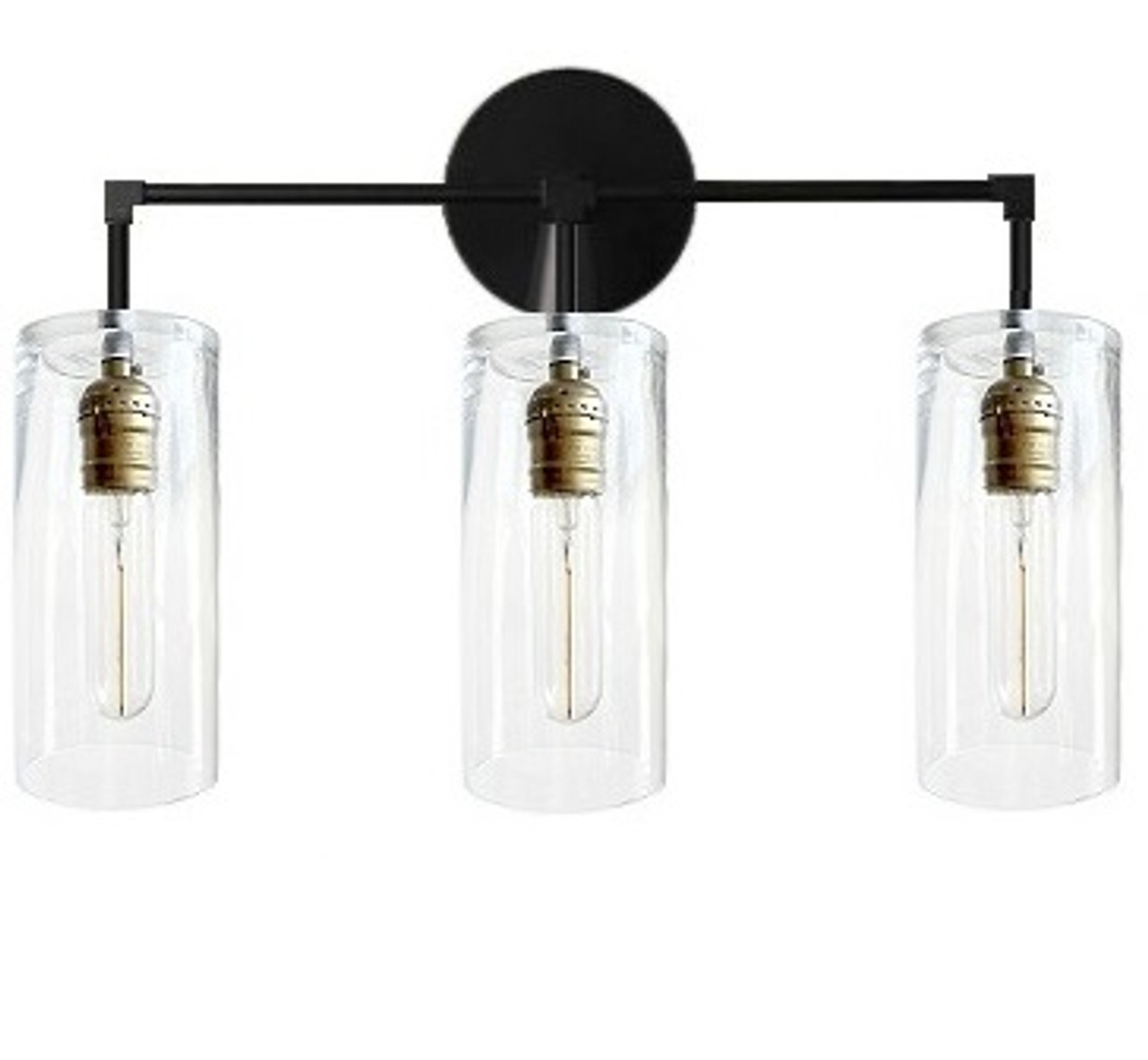 pretty nice 7d885 c5e4a 3 Arm bathroom vanity - Modern industrial fixture glass - Black wall lamp  Industrial, Wall sconce light - LED Edison bulbs electric light fixture