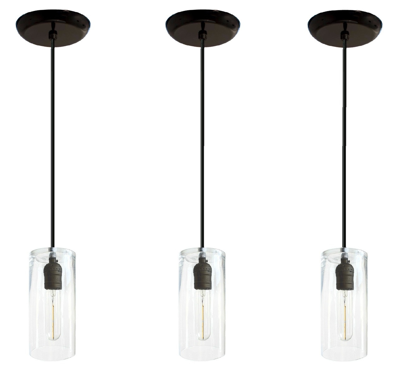 Picture of: Set Of 3 Kitchen Island Pendant Lights Black